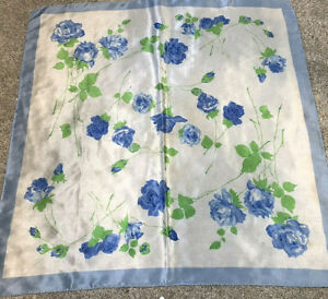 Collectible,Scarf,Silk,Vintage,Large,Fancy,Floral,Art,Blue Rose,Large