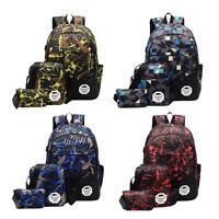 3Pcs/Set Men Women Travel School Bags USB Charging Backpack Shoulder Bag Handbag