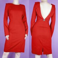 VINTAGE 80s 90s Red Wiggle Backless Gold Knee Retro Cocktail Pencil Dress XS 8