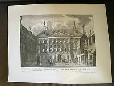 "**RARE** 18"" x 13.75"" P FOUQUET JUNIOR DUTCH ENGRAVING PRINT OF AMSTERDAM (13)"
