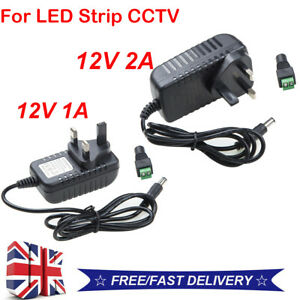 AC To DC 12V 1A 2A UK Power Supply Adapter Charger For LED Strip CCTV Camera *UK