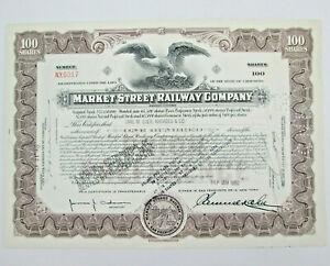 1950 Market Street Railway Company San Francisco CA Stock Certificate 100 Shares