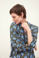 ZARA Blue Olive Green Print Pyjama Style Blouse L UK 12 14 Dipped Hem Relaxed