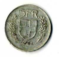 Moneda Suiza 1951 B 5 francos suizos plata .835 silver coin