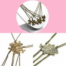 Heart Friendship Best Friends Sisters 5pcs Puzzle Piece Jigsaw Necklace Set