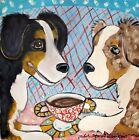 AUSSIE Australian Shepherd dog portrait 4 x 6 PRINT of pop folk art Painting