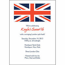 25 Personalized Birthday Party Invitations  - BP-047 Union Jack Flag