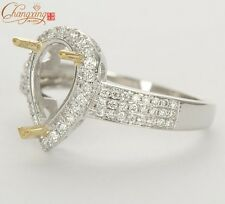 Unplated 14K Two Tone Gold Pear Cut 6x10mm Natural Diamond Semi Mount RING
