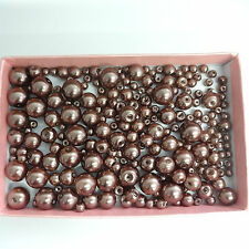 200 Assorted Sizes 4mm 6mm 8mm 10mm Glass Pearl Beads Cocoa