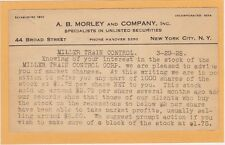 Advertising Postal A B Morley Unlisted Securites Stocks NYC Miller Train Control