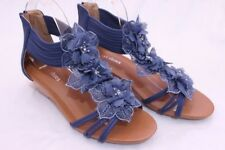 Women's Flower Sandals Wedge Heel Buckled Ankle Strap shoes Blue