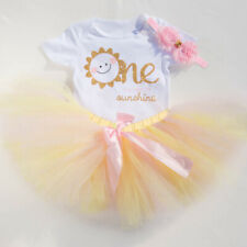 Summer 1st Birthday Baby Girl Tutu Dress Outfits Sets 3PCS Suits Sunshine One