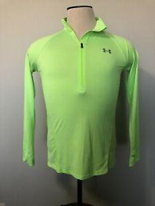 Under Armour Women's Neon Green Running 1/3 Zip Top Long Sleeve Size M