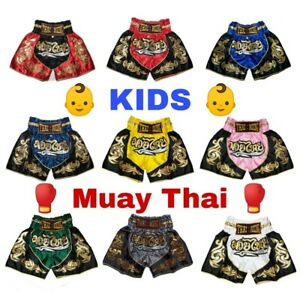[Kids] Muay Thai Fight Shorts Vintage Embroidery Patterns Gear Satin Fabric