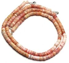 """Natural Gem Peru Pink Opal 7MM Approx Size Rondelle Heishi Beads Necklace 17"""""""