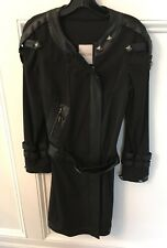 WALTER GIRL By WALTER Black Trench Coat Dress W/ Leather Trim & Silver Studs; 6