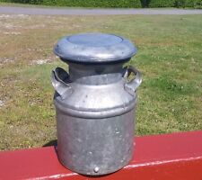 ANTIQUE CREAM CAN DAIRY MILK JUG 2 HANDLES + COVER FARM Great Stubby Size L@@K