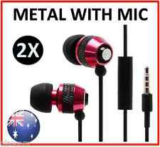 2 X BLack RED Metal earphones, Iphone Samsung HTC LG MIC ABSOLUTELY TOPS