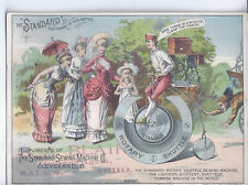 1890s VICTORIAN TRADE CARD VTC STANDARD SEWING MACHINE MAN & HIGH WHEEL BICYCLE