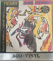 "Amii Stewart Knock On Wood / Light My Fire 12"" White Vinyl UK 1985 Disco Single"