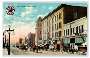 28th Street Billings Montana 1911 Carriages Rare View Antique Vintage Postcard