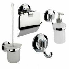 4er Set Badgarnitur / Papierhalter Haken Toilettenbürste Seifenspender Bad Wc