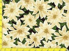 Big White Poinsettia Christmas Quilting Fabric by Yard #3017