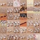 925 Sterling Silver Hoop Dangle Ear Stud Earrings Women Wedding Jewelry Chic