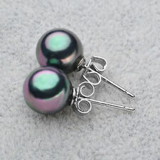 10mm Black White Pink Red South Sea Shell Pearl Silver Stud Earrings