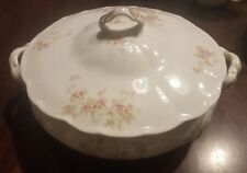 Syracuse China OP CO  Covered Vegetable Bowl pattern 50204 pink flowers