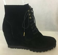 ANYI LU BLACK SUEDE LACE UP ANKLE BOOTIE W/ VIBRAM SOLE - SZ 38.5