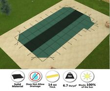 GLI HyPerLite Solid Rectangle Pool Safety Cover 4' Corners & Right Offset Step