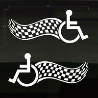 Handicapped Handicap Wheelchair Fast Flames Set of 2 BLACK Decal Stickers 12x4.5