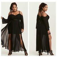 NWT Torrid Size 10. Black Insider Cold Shoulder Lace Bustier Maxi Dress (GG1)