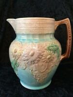 Antique 19th Century French Majolica Pottery Large Floral Daisy/Dahlia Pitcher