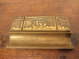 Antique Art Deco Silver Crest Bronze Desk Inkwell with Ship & Waves Design