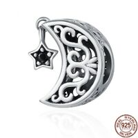 100% 925 Sterling Silver Openwork Moon and Star Goodnight Charm pandora Beads