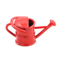 Red 1:12 Scale Metal Watering Can Doll House Miniature Garden Accessory B Pf
