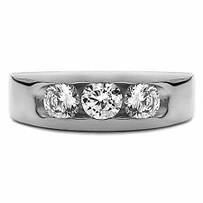 Round Cut 14K White Gold I-J 0.35 Ct Natural Diamond Mens Engagement Ring Size U
