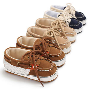 Newborn Baby Boys Pre Walker Soft Sole Pram Shoes Toddler First Trainers 0-18 M