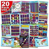20 x Childrens Educational Posters Kids Teacher Home School Classroom Learning