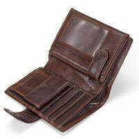 Men Wallet Oil Wax Cowhide Genuine Leather Wallets Coin Purse Clutch Retro Short