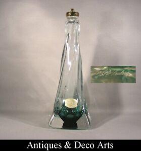 Val St Lambert Pied de Lampe en Cristal Vert H:32cm Groen Kristallen Lampenvoet