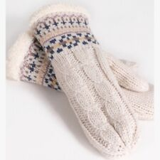 NEW Knit Mittens Sherpa Wool blend Sherpa Lining Ivory Winter Gloves One Size