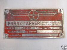 PLAQUE CONSTRUCTEUR REMORQUES FRANZ TAPPER 1951 / MOBILIER INDUSTRIEL
