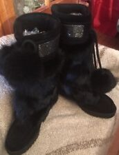 COACH MARYANN Boots NEW Black Angora Fur/Suede Shearling Lined Bugle Bead Top