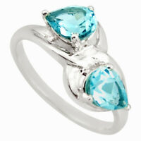 3.51cts Natural Blue Topaz 925 Sterling Silver Ring Jewelry Size 7 D46387