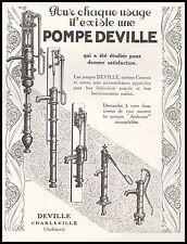 Publicité POMPE DEVILLE Pompe à main à eau Potager vintage ad  1926 -3j