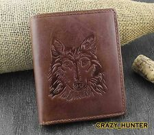 Men Genuine Oil Leaher Wolf Bifold Wallet Card Holder Coin Purse Gift