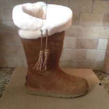 UGG Plumdale Tall Chestnut Suede Sheepskin Cuff Warm Zip Boots US 9 Womens 1894